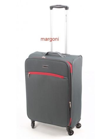 średnia walizka sumatra elegance 24 6121 szaro-czerwona