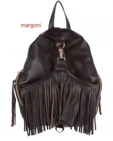 Plecak damski skórzany margoni frędzle 510 brązowy