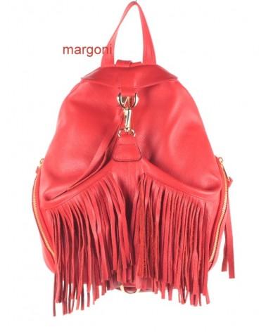 Plecak damski skórzany margoni frędzle 510 czerwony