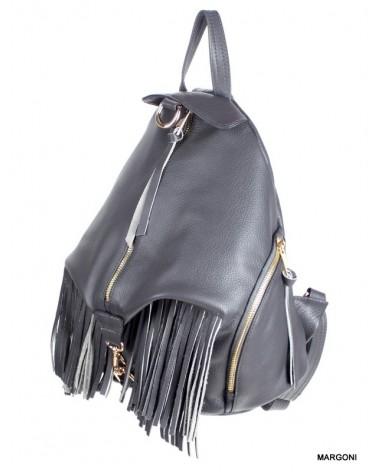 Plecak damski skórzany margoni frędzle 510 szary