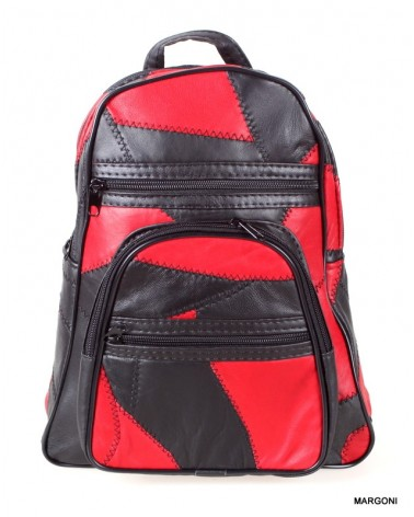 Plecak skórzany miejski Margoni P-01 łatki czarno czerwony